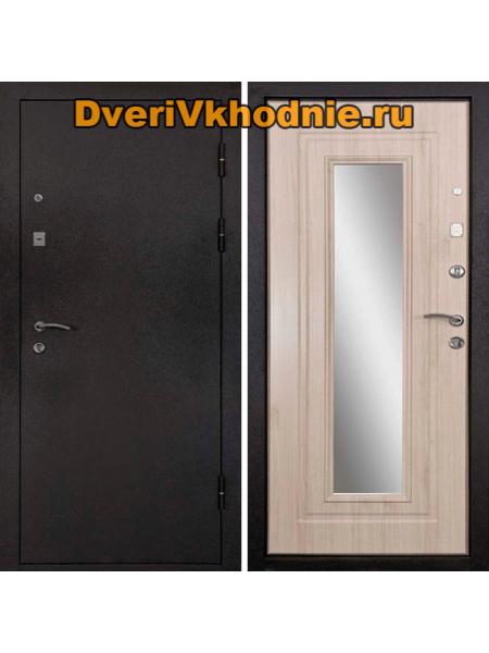 Металлическая входная дверь Райтвер Престиж Беленый дуб с зеркалом
