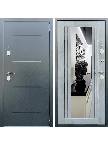 Металлическая входная дверь Престиж Люкс с зеркалом Бетон