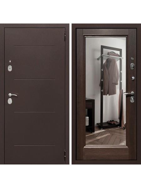 Металлическая входная дверь Престиж 100 с зеркалом Венге